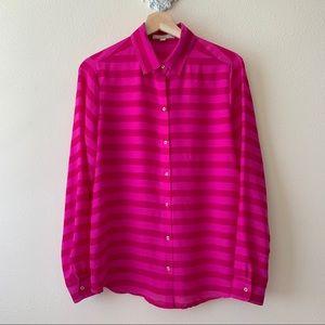 Banana Republic pink striped button down shirt